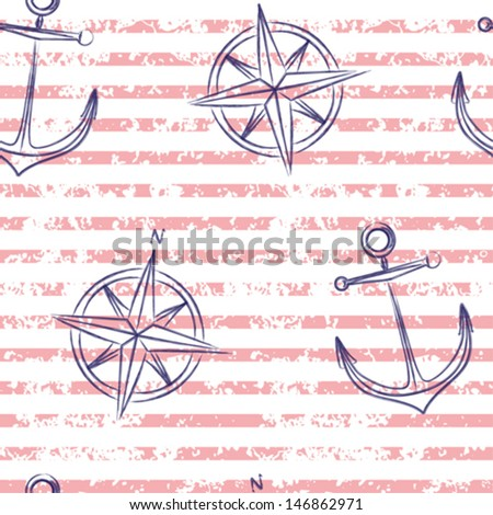 Nautical seamless in retro style - stock vector