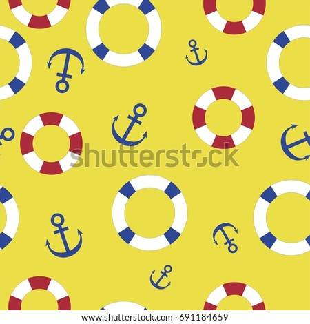 Nautical seamless pattern background with lifeline and anchor on the yellow background. Sea theme.