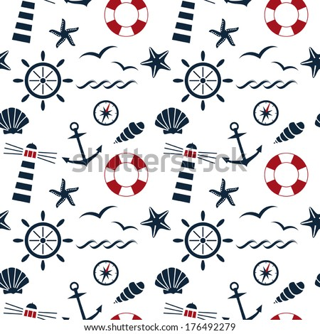 nautical seamless pattern on the white background vector - stock vector
