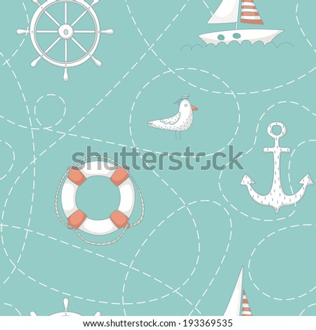 Nautical seamless pattern with an albatross, a yacht, anchor, steering wheel and life buoy. EPS 10. No transparency. No gradients. - stock vector