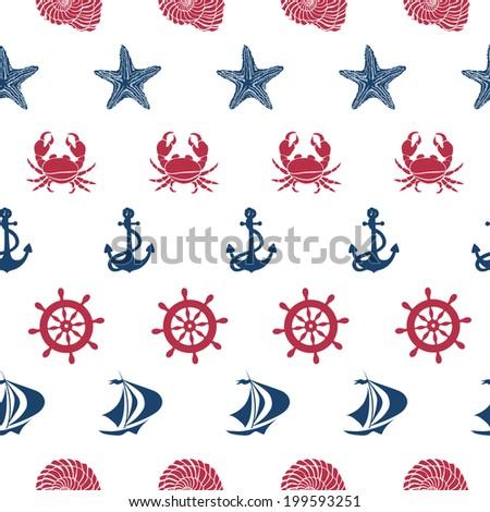 Nautical seamless pattern with anchor, wheel, ship, starfish, seashell and crab - stock vector
