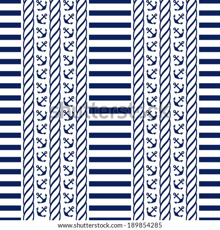 Nautical seamless pattern with stripes and anchors. Sea theme. Vector illustration. - stock vector