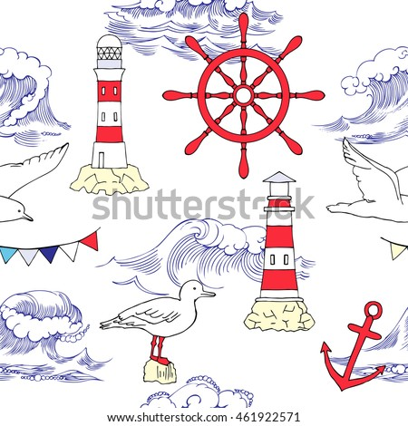 Nautical seamless pattern with wheel Hand drawn elements for summer holidays.Travel, sea and ocean. Vector Illustration