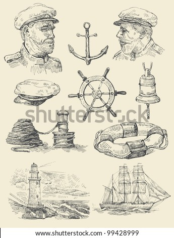nautical set - stock vector