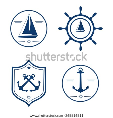 Nautical set. Anchor, yacht, wheel. Design template for label, banner, badge, logo, coat of arms. - stock vector