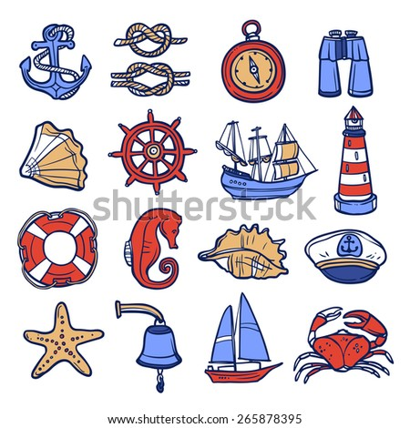 Nautical sketch decorative icon set with anchor rope compass binoculars isolated vector illustration - stock vector