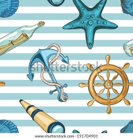 Nautical striped seamless pattern of anchor, wheel, starfish, seashell, spyglass and bottle with message - stock vector