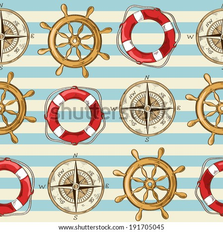 Nautical striped seamless pattern of wheel, compass and lifebuoy - stock vector