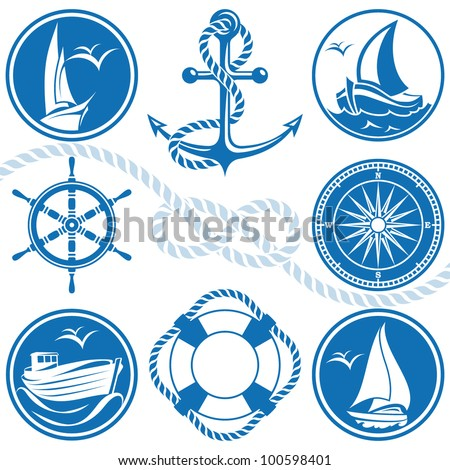 Nautical symbols and icons - stock vector