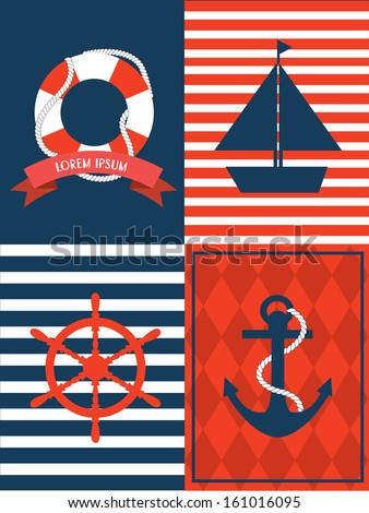 nautical template vector.illustration - stock vector