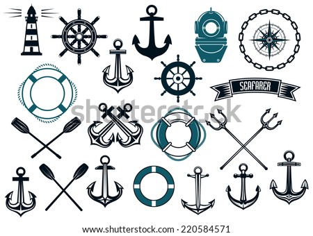 Nautical themed design elements with lighthouse, rope, anchor, paddle, life buoy, trident, steering wheel and diving helmet - stock vector