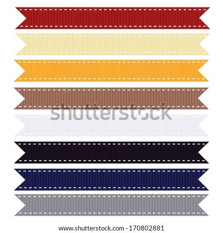 Nautical Themed Grosgrain Ribbon, Vector Illustration. Also see other ribbon sets.