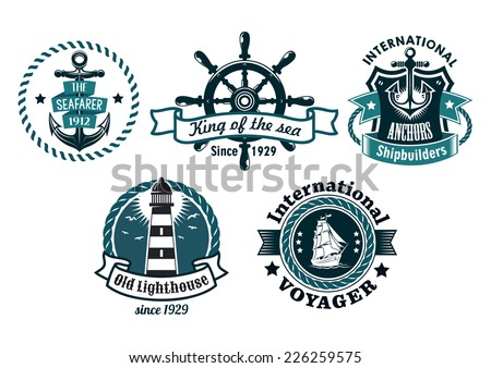 Nautical themed vector emblems or badges with various text depicting a ships anchor, lighthouse, wheel, tall sailing ship with rope borders, banners and a shield, blue on white - stock vector