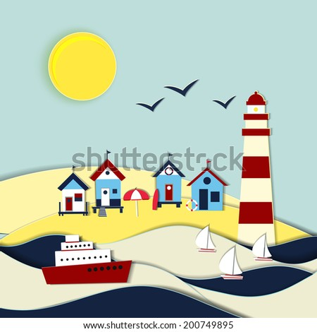 Nautical themed vector landscape with a lighthouse beach sand dunes ship sailboats, gulls and beach huts under a summer sun symbolic of travel and a tropical vacation - stock vector