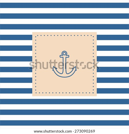 Nautical vector card or invitation with anchor, pastel background and blue white stripes