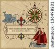 Nautical vector illustration Old geographical map with wind-rose, ships, whale, sword fish, island and chest with treasure - stock photo