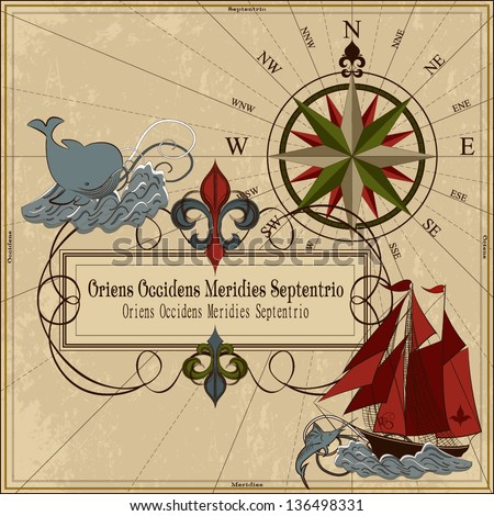 Nautical vector illustration Old geographical map with wind-rose, ships, whale, sword fish, island and chest with treasure - stock vector