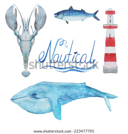 Nautical watercolor collection: the blue whale, lighthouse, fish, lobster. Hand drawn vintage objects on white background. - stock vector