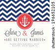 Nautical wedding invitation card - stock vector