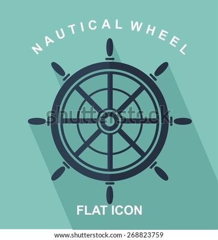nautical wheel or rudder flat icon - stock vector