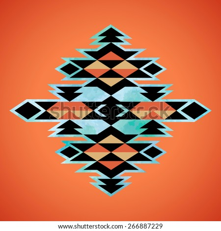 Navajo aztec textile inspiration pattern. Native american indian tribal  hand drawn art. - stock vector