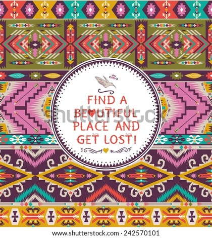 Navajo seamless tribal pattern with quotes on labels - stock vector