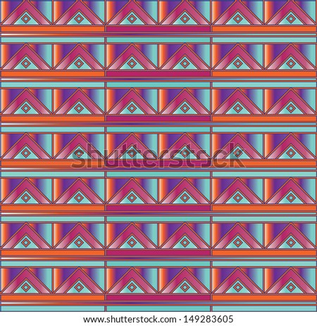 Navajo tribal triangle aztec pattern on gradient colors - stock vector