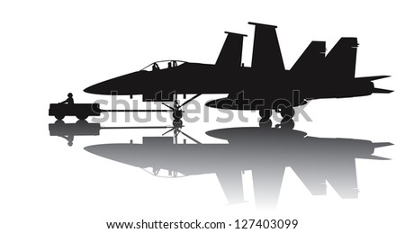 Naval aircraft transporting. Vector silhouette with reflection - stock vector