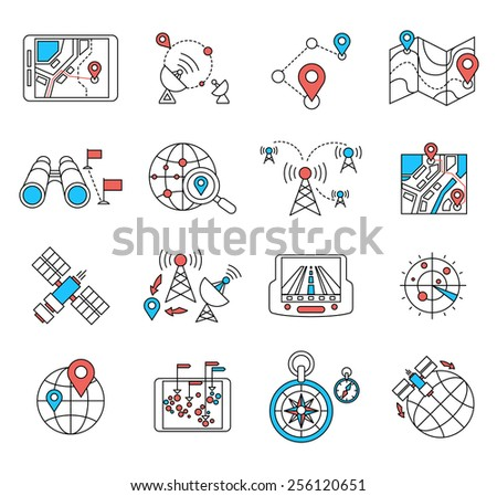navigation and geolocation thin flat lines of modern design - stock vector