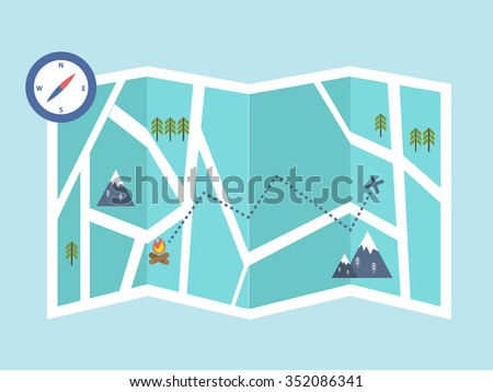 navigation and outdoor adventures. map location. vector illustration - stock vector