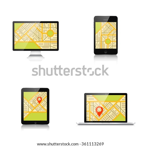 Navigation background with monitor, laptop, tablet, smartphone and map.Responsive web design. Adaptive user interface. - stock vector