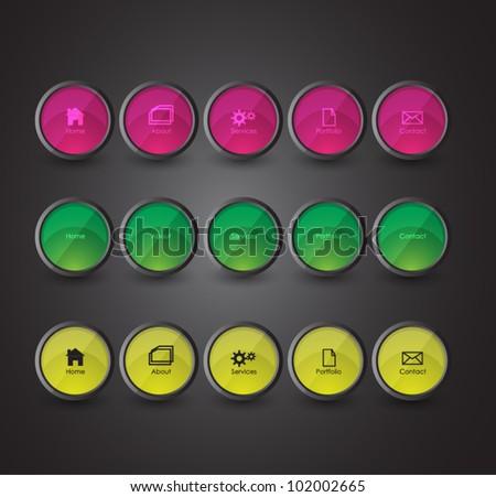 navigation bar n three color themes - stock vector