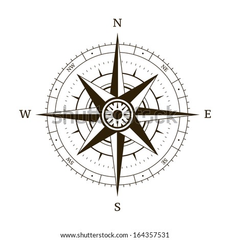 Navigation compass wind rose vector illustration - stock vector