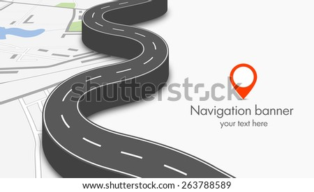 Navigation concept banner with city map and 3d road - stock vector