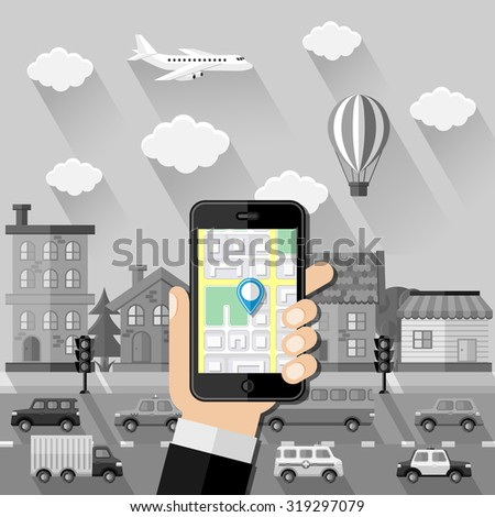 Navigation concept. Hand holds smartphone with navigation app against greyscale cityscape. Flat design. Vector illustration. - stock vector