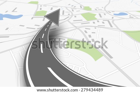 navigation concept with map and up road - stock vector