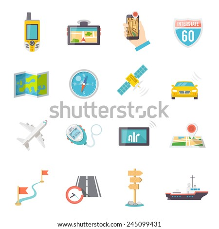 Navigation direction and position finder systems flat icons collection with road map flags abstract isolated vector illustration - stock vector