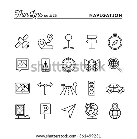 Navigation, direction, maps, traffic and more, thin line icons set, vector illustration - stock vector