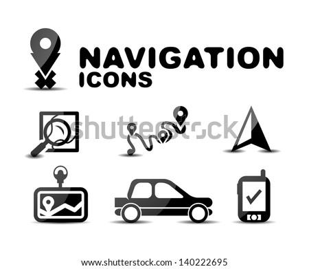 Navigation glossy black icon set. Illustration - stock vector