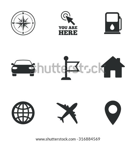 Navigation, gps icons. Windrose, compass and map pointer signs. Car, airplane and flag symbols. Flat icons on white. Vector - stock vector