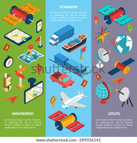 Navigation GPS routing system vertical  isometric vertical banners set with aircraft  position velocity detector abstract vector illustration - stock vector