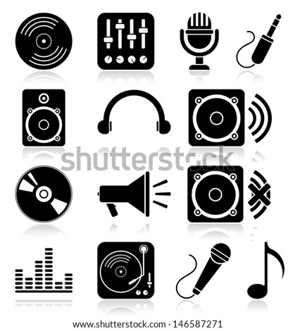 Navigation icon set. Vector illustration of different music web icons - stock vector
