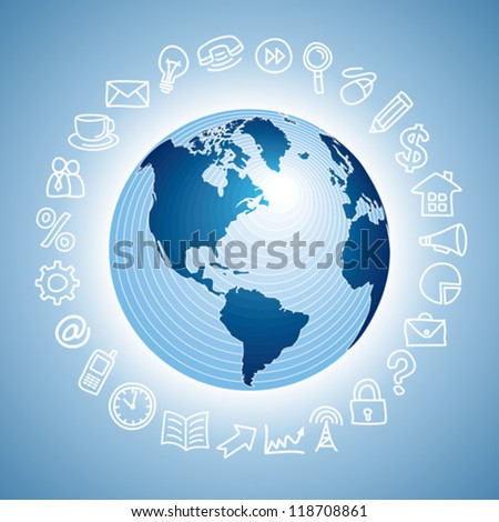navigation icon with globe - stock vector