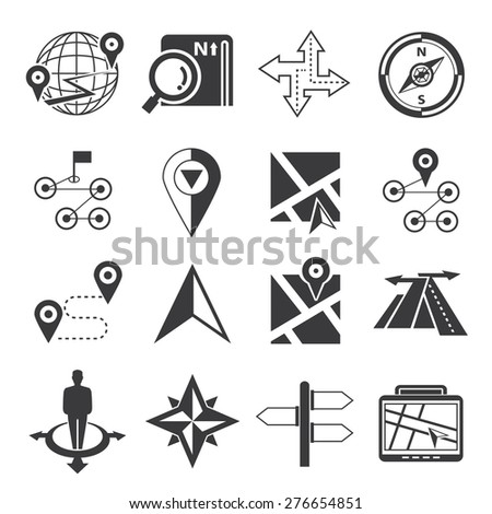 navigation icons, map icons set - stock vector