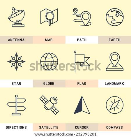 Navigation icons set. - stock vector