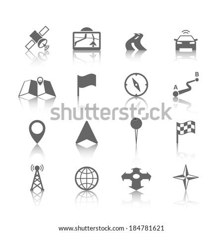 Navigation icons set of globe road map flag car compass flag vector illustration - stock vector