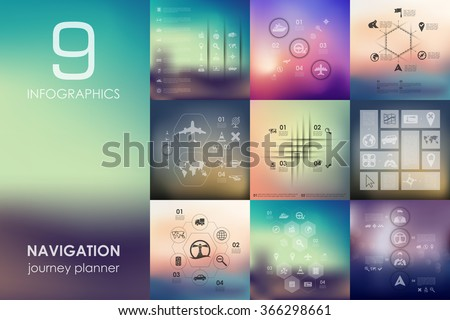navigation infographic with unfocused background - stock vector