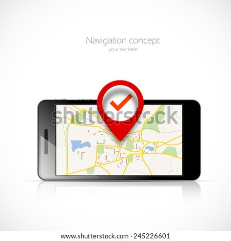Navigation map in phone and red pin pointer - stock vector