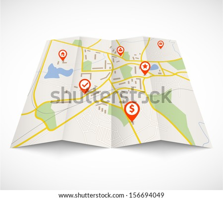 Navigation map with red pins - stock vector