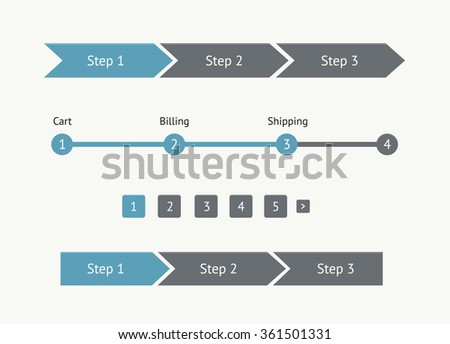 Navigation menu in flat style. Step by step. UI element - stock vector